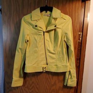 Mudd size M neon yellow denim motorcycle jacket